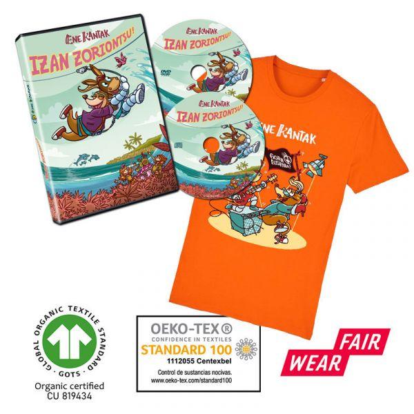 ASTO-SATOR-KAMISETA-laranja-eta-Izan-Zoriontsu-CD-DVDa